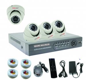 KIT1 -   4 cameras AHD e DVR AHD com HD500GB  Completo